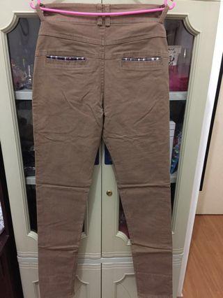Brown skinny jeans plaid hem lining