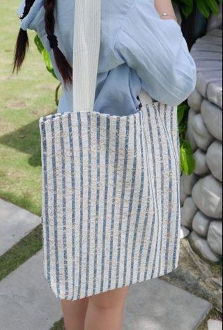 🚚 Blue and White Strip Tote Bag
