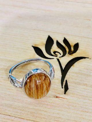 铜发晶戒指(Rutilated Adjustable Ring)