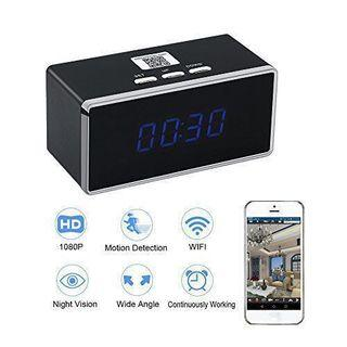 7-STAR* Spy Camera - Portable Spy Hidden Wifi Digital Clock Pinhole Wireless IP Camera - (Full-HD 1080P Resolution) - Motion Detection - Invisible Night Vision - Two-Way Audio Recording - Rechargeable Battery - Multi-User - Multi-View (APP:BVCAM)