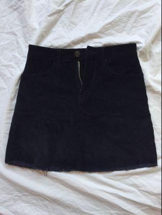 BN Brandy navy blue corduroy raw hem skirt