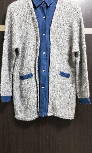 🚚 假二件襯衫毛衣