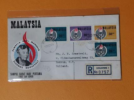 Malaysia 1964 Eleanor Roosevelt Commemoration F.D.C (S'pore) Local Post Mark