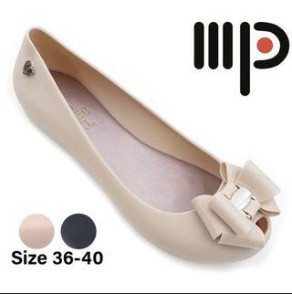 BN Jelly Shoes Bow Ribbon Beige
