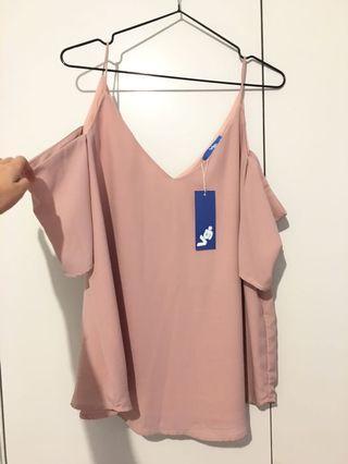 BNWT Soft Pink Cold Shoulder Top