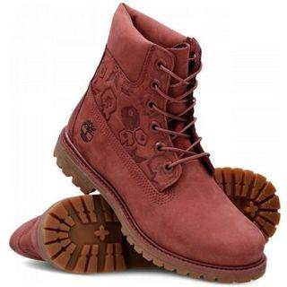Timberland A1K3O Womens Premium Embossed Leather Boots - Burgundy Brown