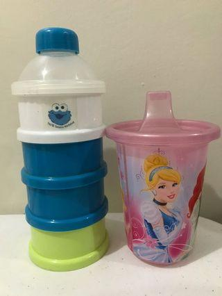 Milk container and Water Cup