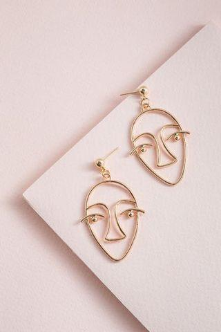 Gold Face Earrings