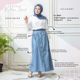 Preloved Korean Button Skirt Blue