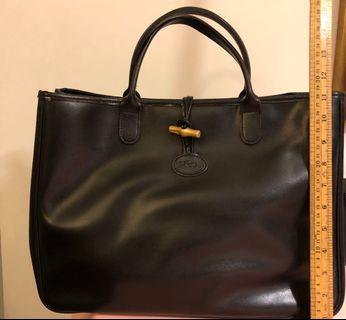 Long champ black leather tote bag