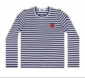 ce8a2979ef65eb CDG Comme des Garcons Play Navy White Stripe Shirt