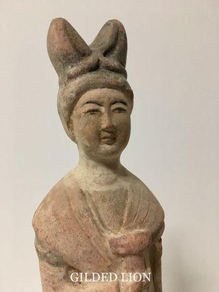 Very Fine Earthenware Statue of a Court Lady; 1st half 1800s; Ex-German Collection.
