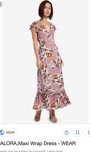 Zalora pink base floral maxi wrap dress