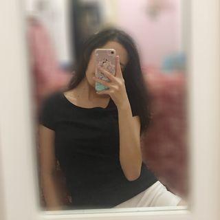 H&M black basic top girls woman teenager perempuan t shirt tee