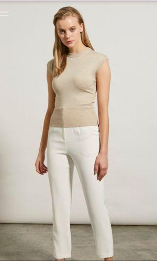 Collate The Label Mock Neck Knit Top - Beige