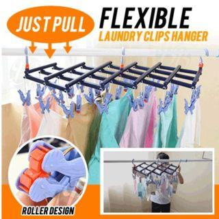 BN JUST PULL Flexible Laundry Clips Hanger / 14 Clips 29 Clips