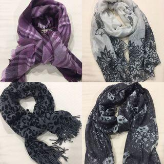 🚚 4 x Assorted Printed Shawls/Scarves