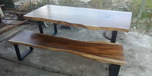 READY STOCK - Raintree wood slab Table and Bench