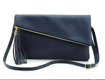 Givenchy 深藍色 斜拉鏈 兩用 手提袋 斜孭袋 ~ 專櫃VIP櫃贈品