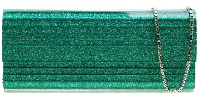 Jimmy Choo Glitter Acrylic Sweetie Green Leather Clutch