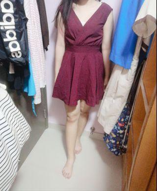 V領修腰酒紅色連身裙韓國製造