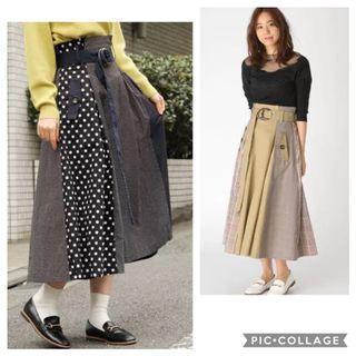 2色💋日系波點拼接傘裙 Japan fashion a-line skirt polka dot skirt 2 colours khaki navy blue skirt