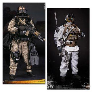 (Sales - 1 Set Only) *MISB* Damtoys 78056 Marine Force Recon Combat Diver Desert (Marpat Version) & Mini Times Toys MT-M011 US Navy SEAL Winter Combat Training