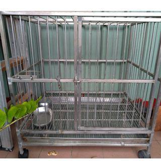 二手 不銹鋼 白鐵 狗籠 籠子  上蓋 加粗 2.5尺 8成新