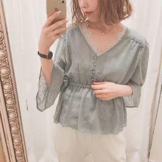 日系Nice波點雪紡收腰上衣 Japan fashion see through polka dot chiffon top