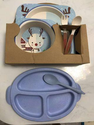 🚚 Baby children plate bowl spoon set Tablewear, 100%Bamboo fiber
