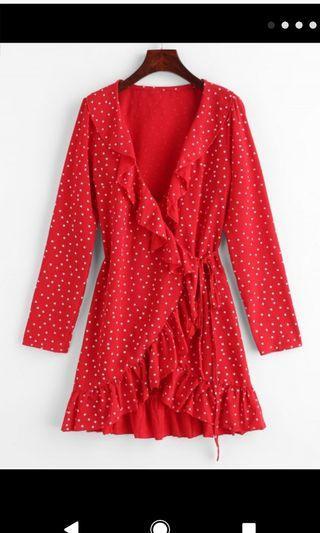 Red wrap dress