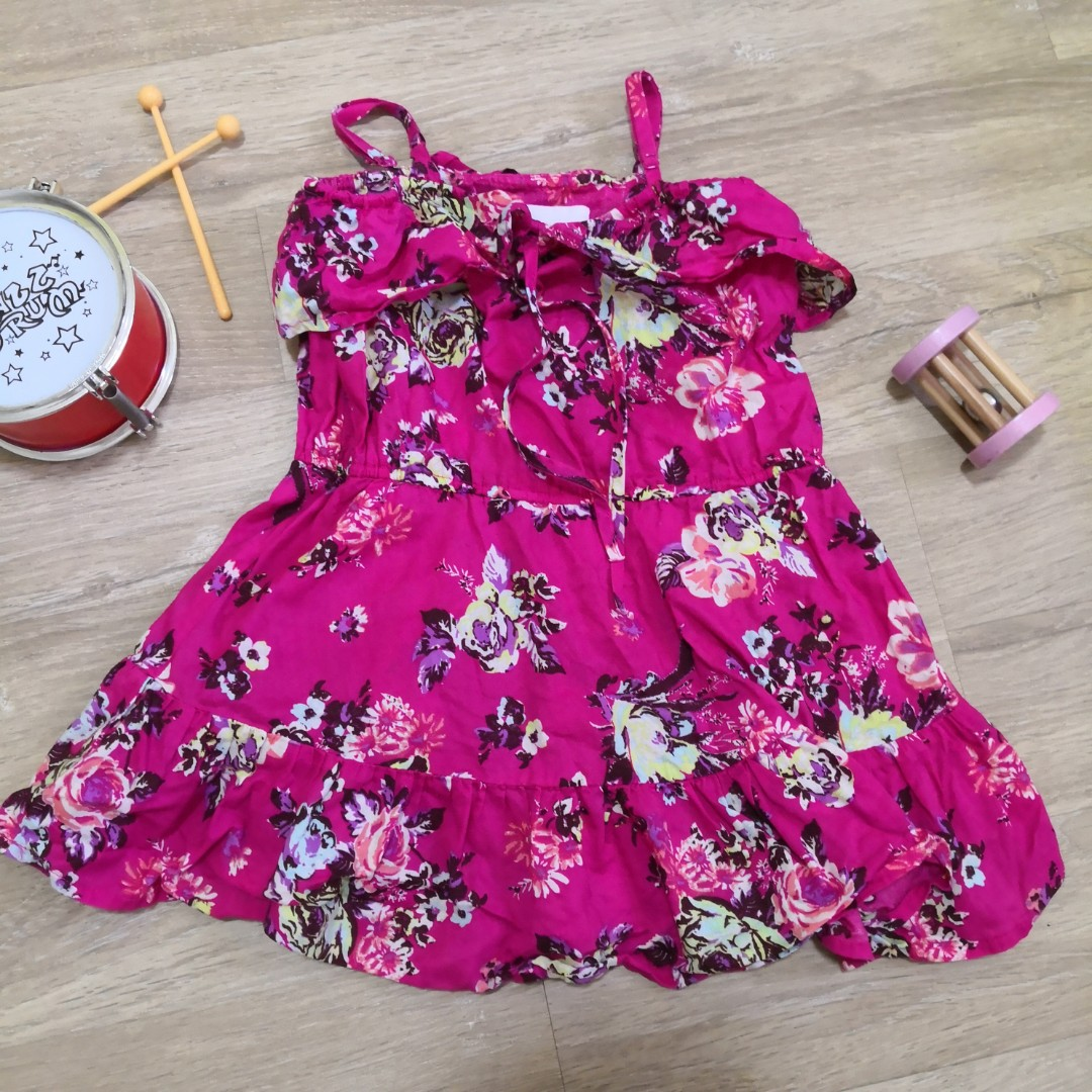 9884250f7d 24M 2T Pink Floral Summer Spaghetti Dress