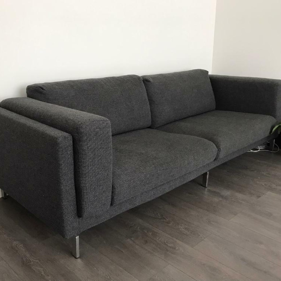 Seats En Sofas.3 Seats Sofa Dark Grey Excellent Condition With Chrome Legs