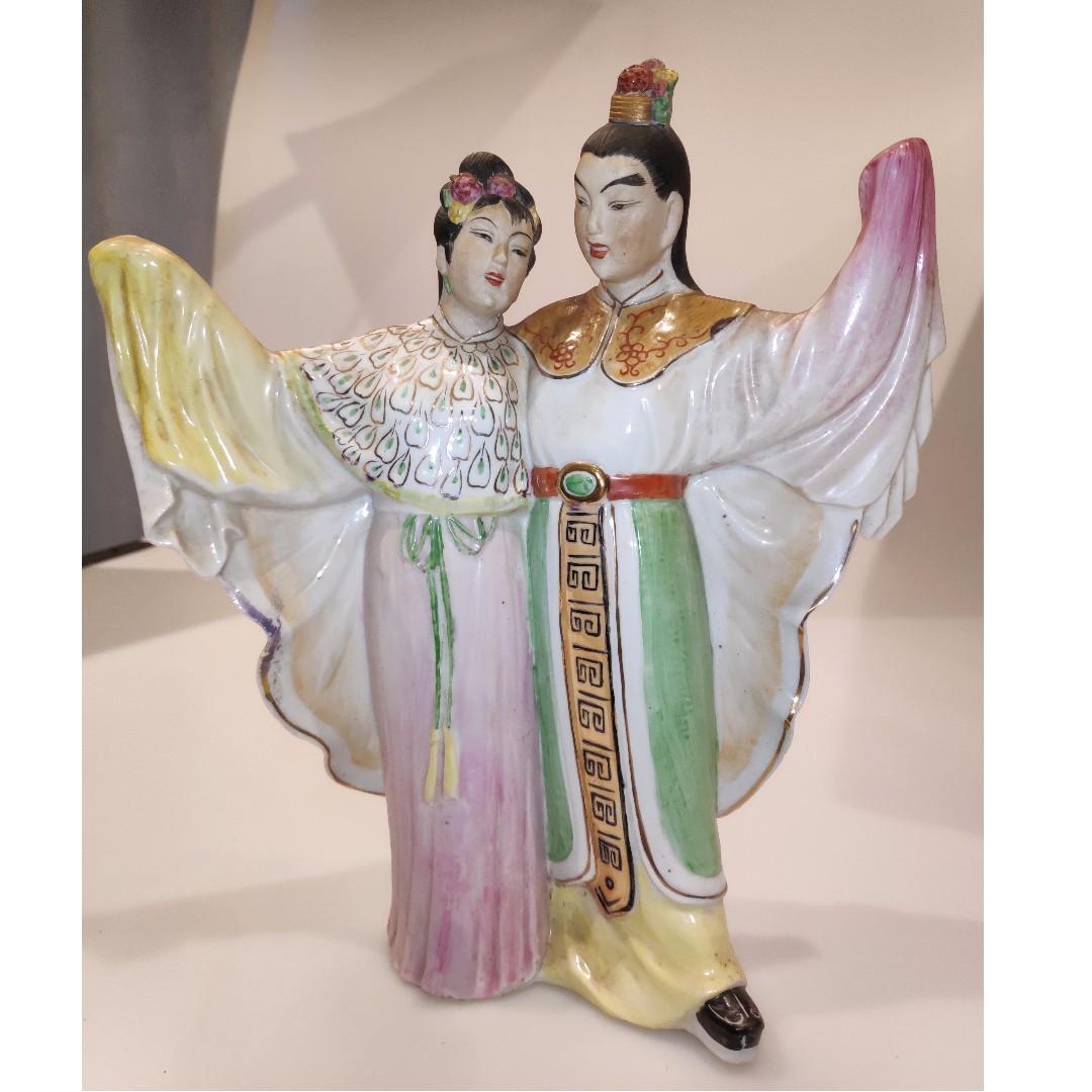 粉彩梁山伯與祝英台陶瓷塑像