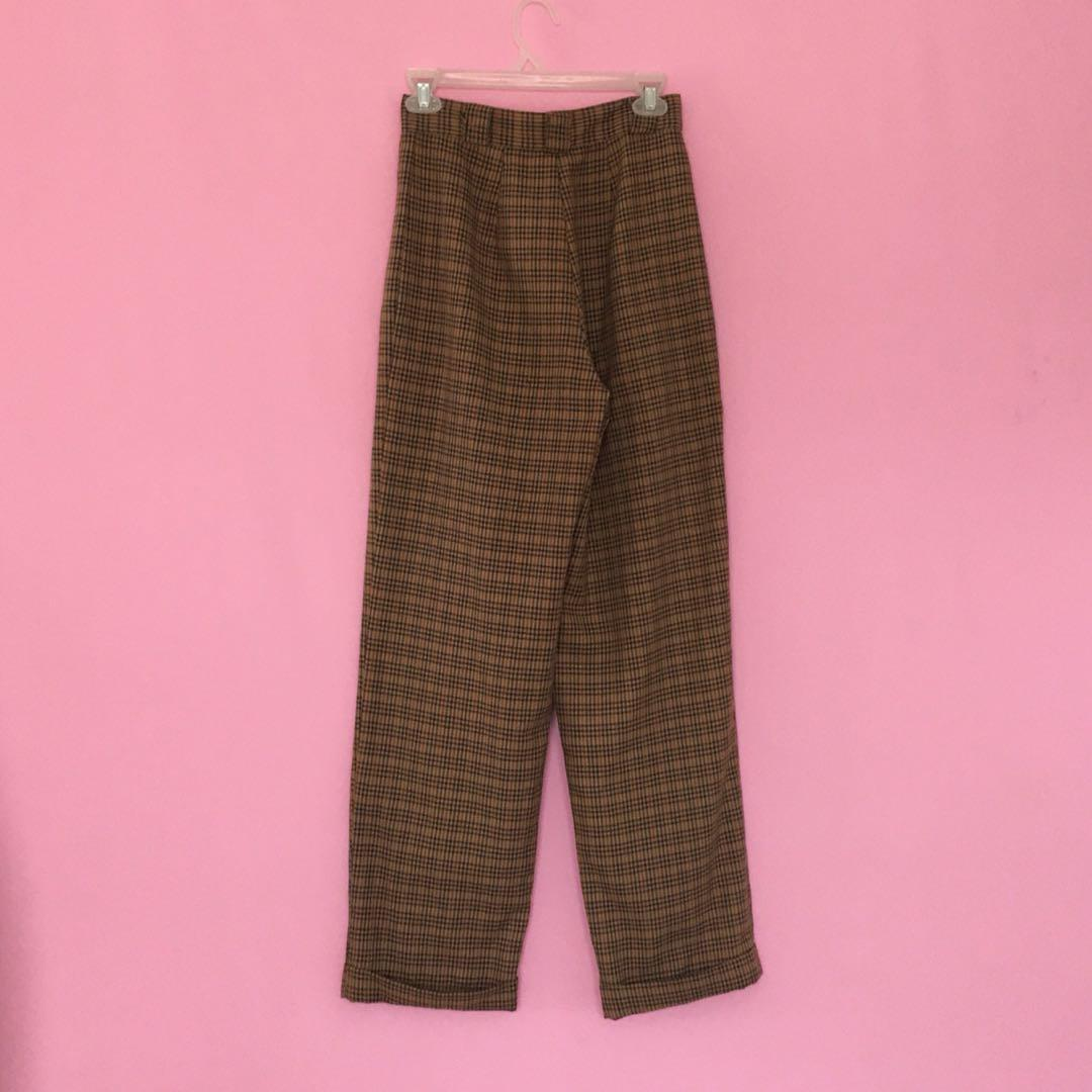 Amazing vintage 90's brown check wide leg high waist trousers