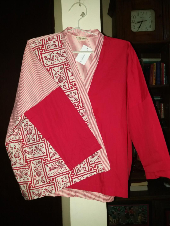 Beatrice red two tone kimono blouse