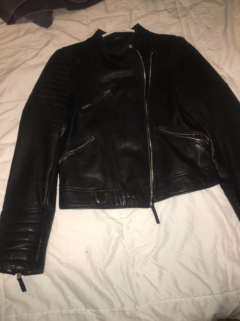 Black leather jacket from Zara