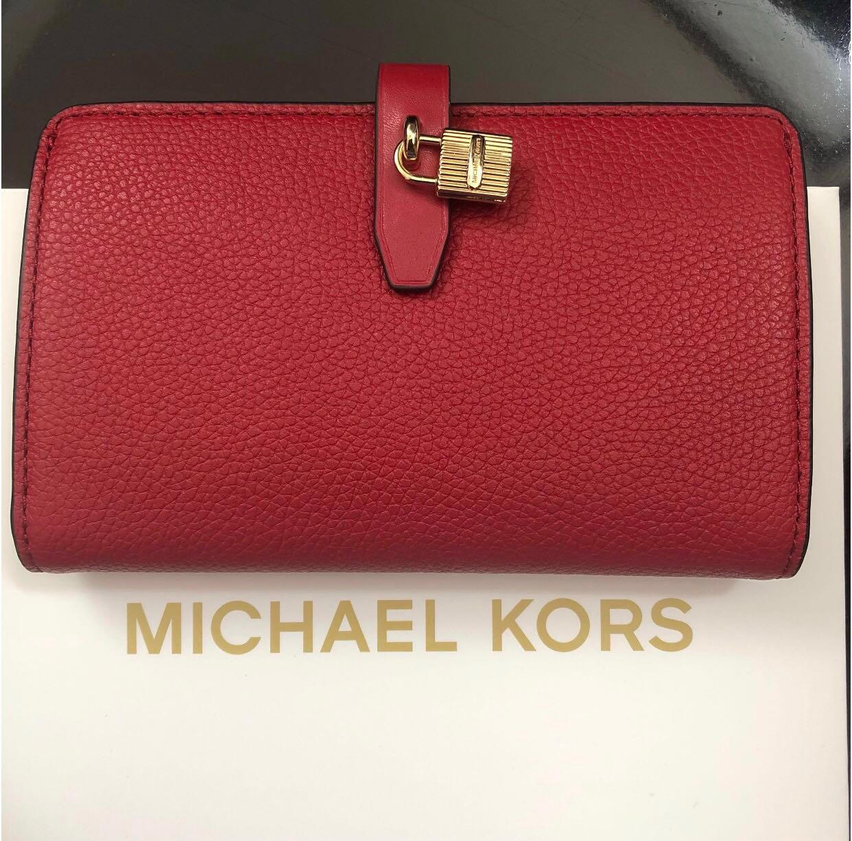 c1fef835636ce4 BN Michael Kors Adele Slim Bifold Leather with Lock Detail Wallet ...