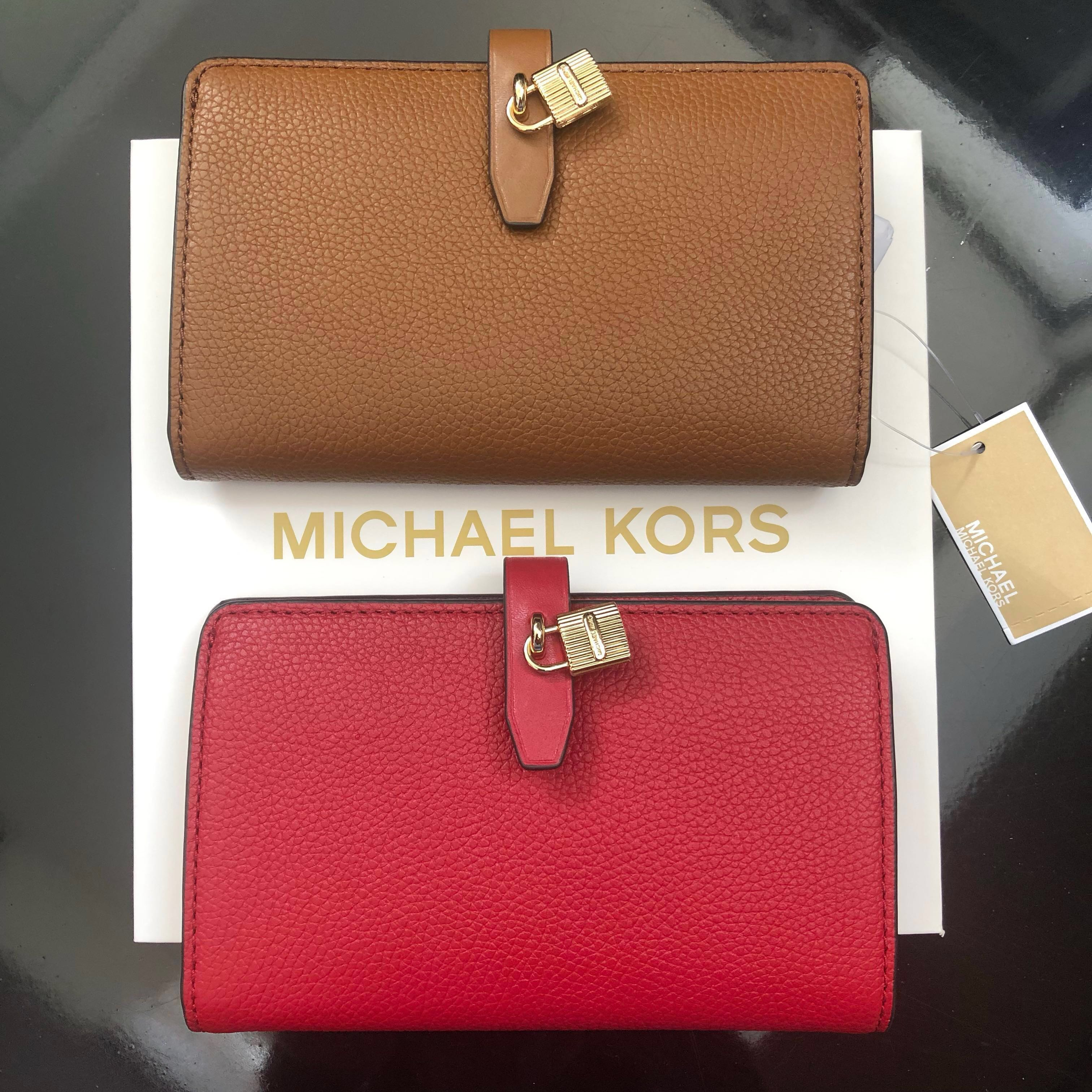 719e4fc6fced BN Michael Kors Adele Slim Bifold Leather with Lock Detail Wallet ...