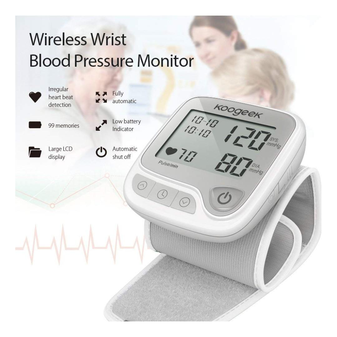 (BNIB) KOOGEEK Bluetooth Wrist Blood Pressure Monitor with Heart Rate Detection & Memory Function for Apple and Android Devices (Brand New Boxed)