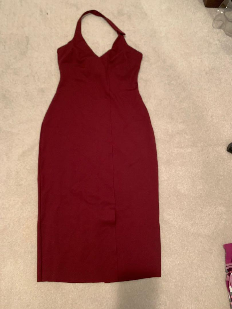 BRAND NEW GUESS burgundy halter dress with front slit