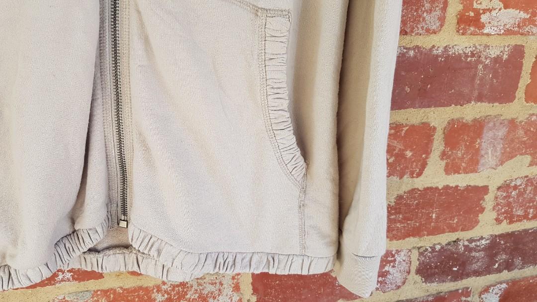 Burberry Hoodie- Cream Zip Up L Womens Jacket/Sweater/Jumper