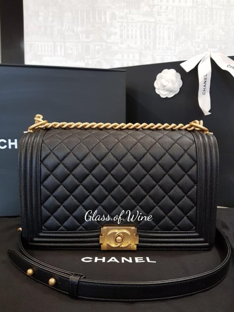 c262af2cef6bfb Chanel Boy New Medium in Grained Calfskin with Gold Hardware, Luxury ...