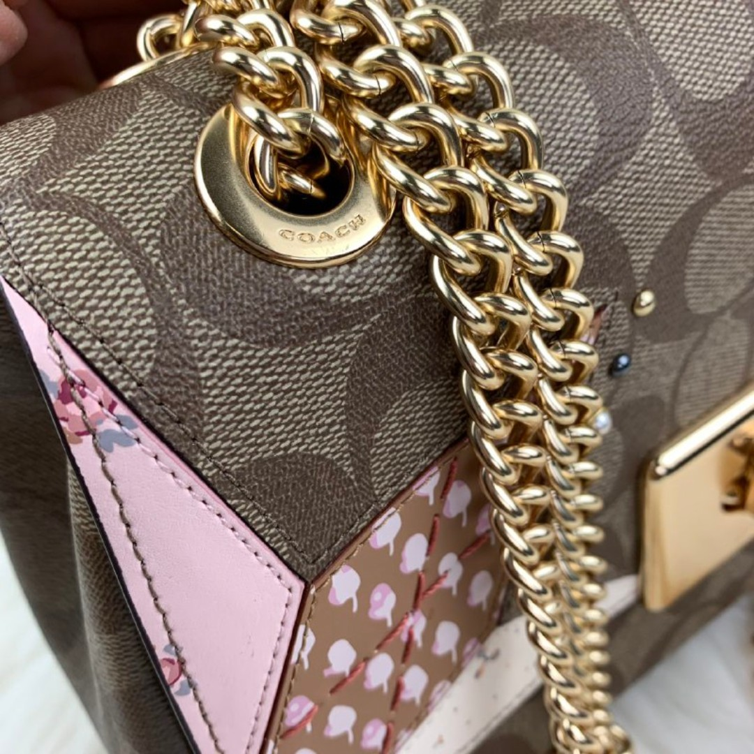 COACH CASSIDY CROSSBODY IN SIGNATURE CANVAS WITH STAR PATCHWORK (COACH F39918) KHAKI MULTI/LIGHT GOLD