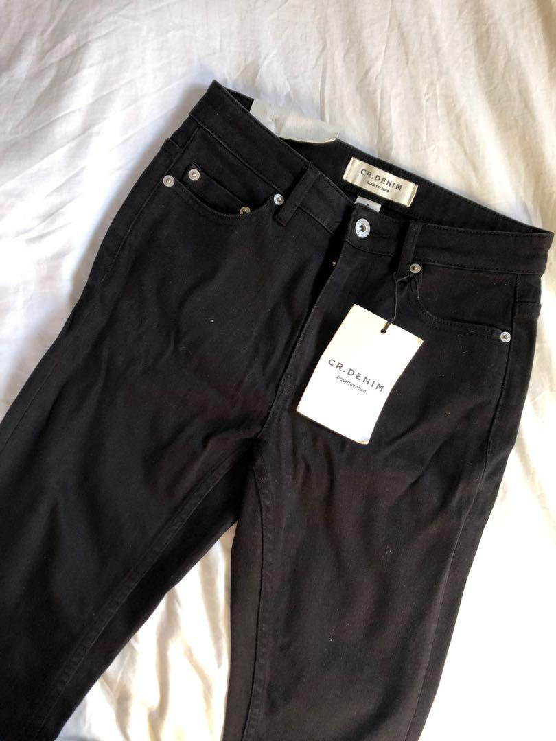 Country Road High Rise Skinny Leg Rigid Denim Black Jeans