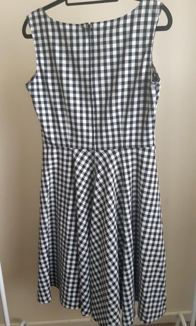 Dangerfield Revival black and white check midi dress size 12