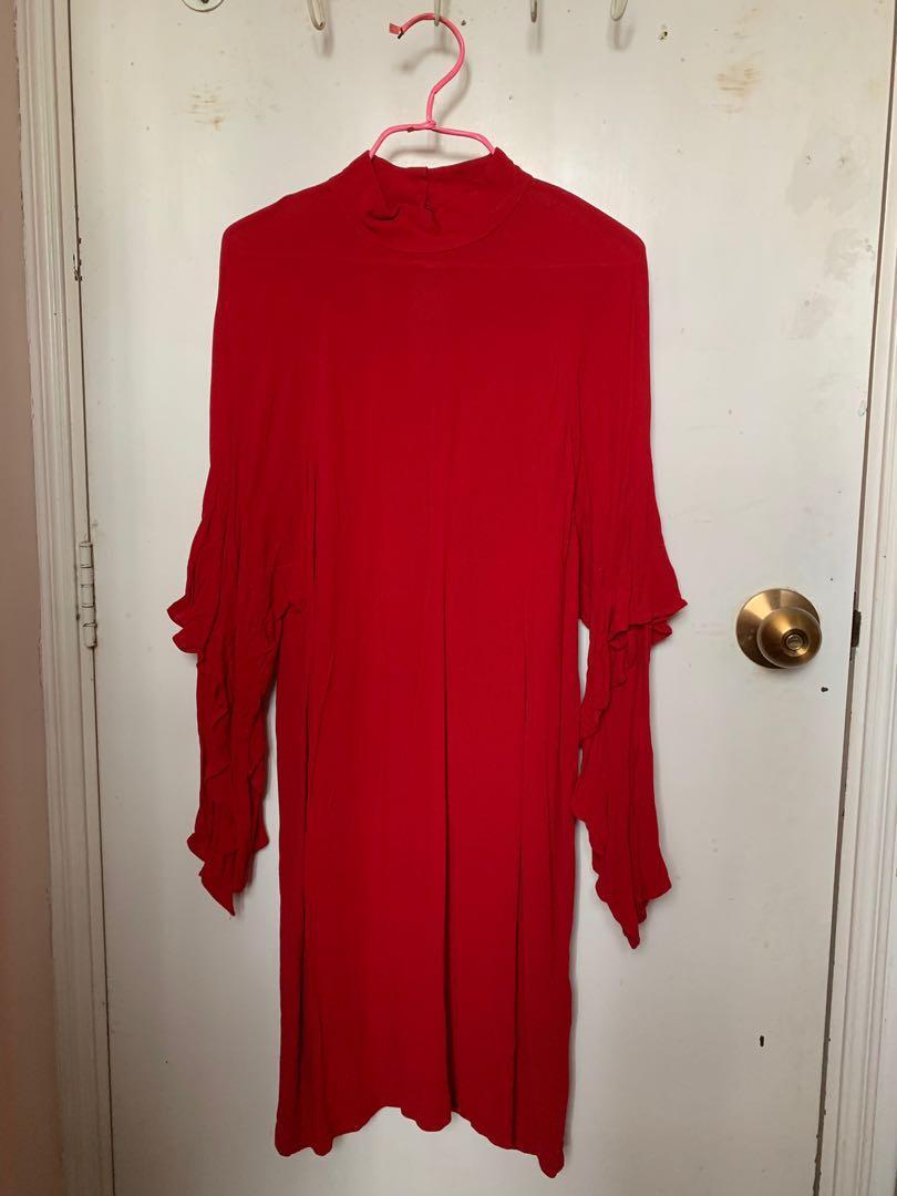 H&M 紅色露背裙