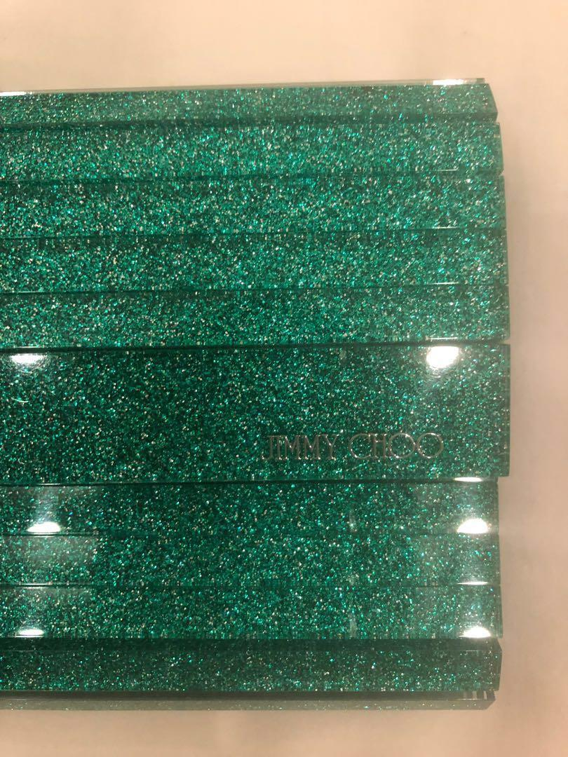 Jimmy Choo Glitter Acrylic Sweetie Green Leather Clutch