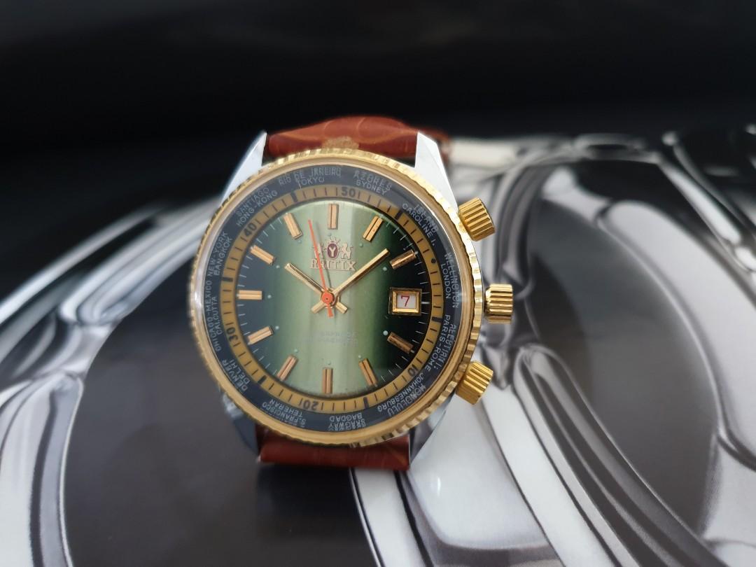 jumbo 42mm vintage 1970s unworn mechanical swiss britix hand wind 2 internal rotating bezels with date mens watch