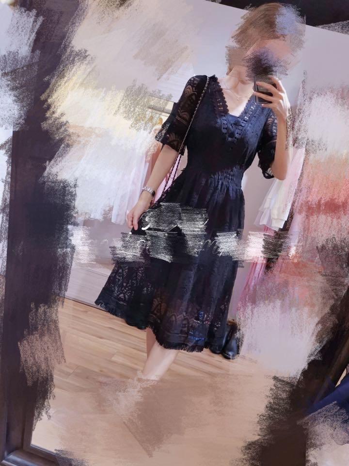 黑色lace v領 顯瘦one piece裙